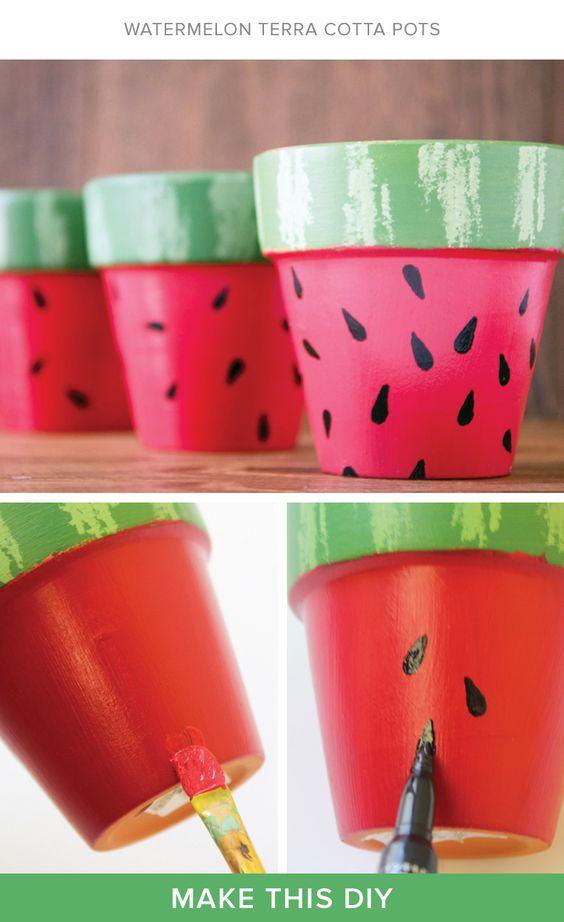 DIY Watermelon Flower Pots