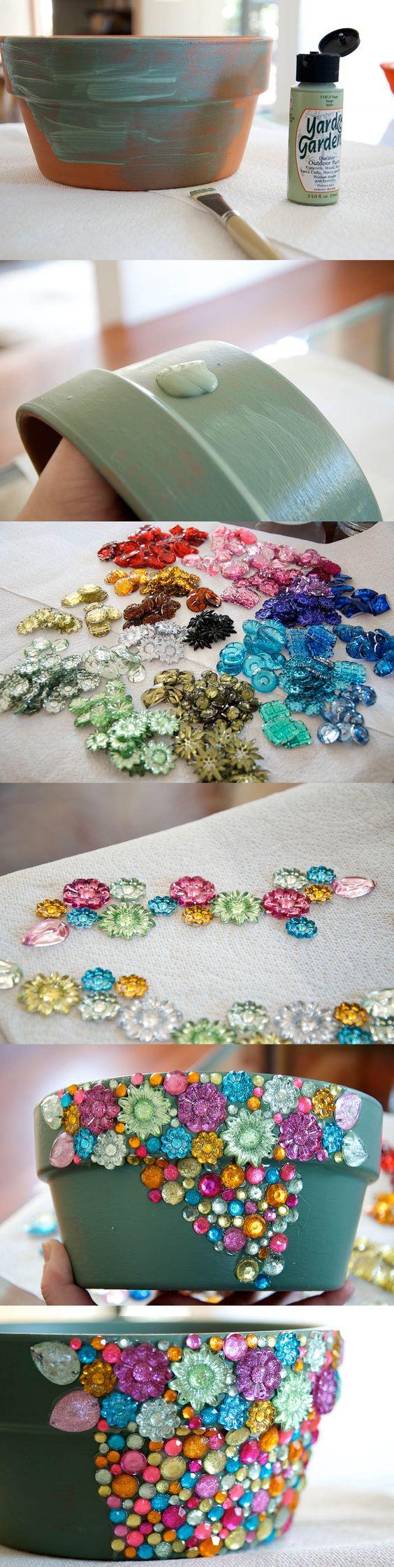DIY Jeweled Terra Cotta Pot