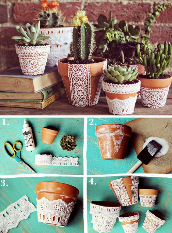 DIY Lace Flower Pots