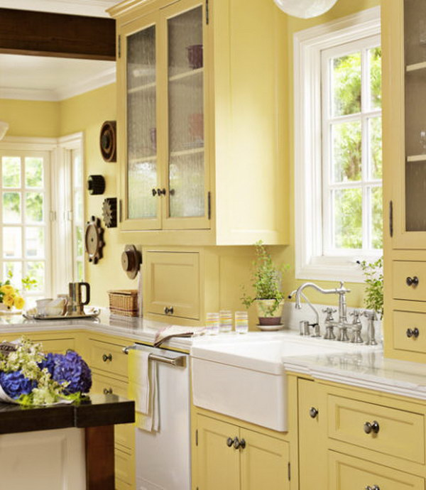 Kitchen cabinet paint colors and how they affect your mood for Kitchen colors with white cabinets with rusted metal wall art