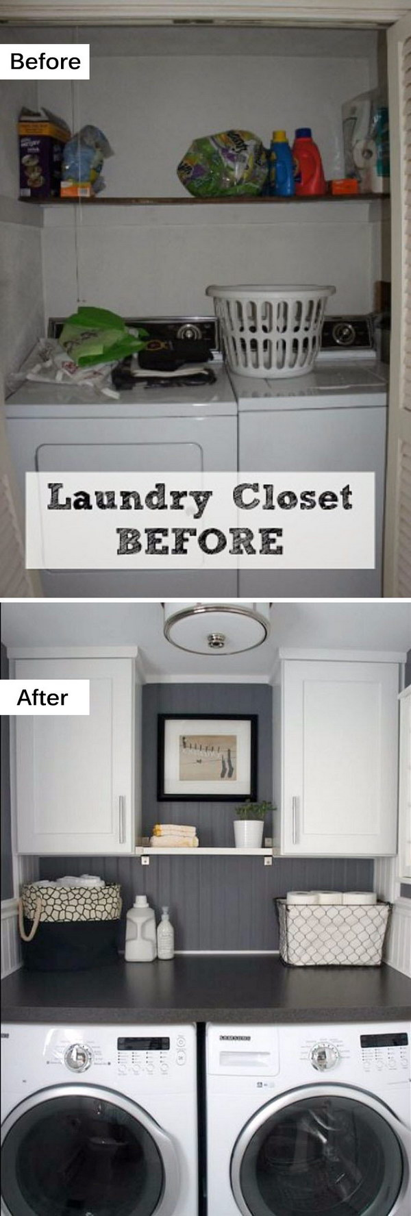 laundry room makeovers charming small. Small Laundry Room Makeover With New Cabinets And A Counter Across The Washer Dryer Makeovers Charming L