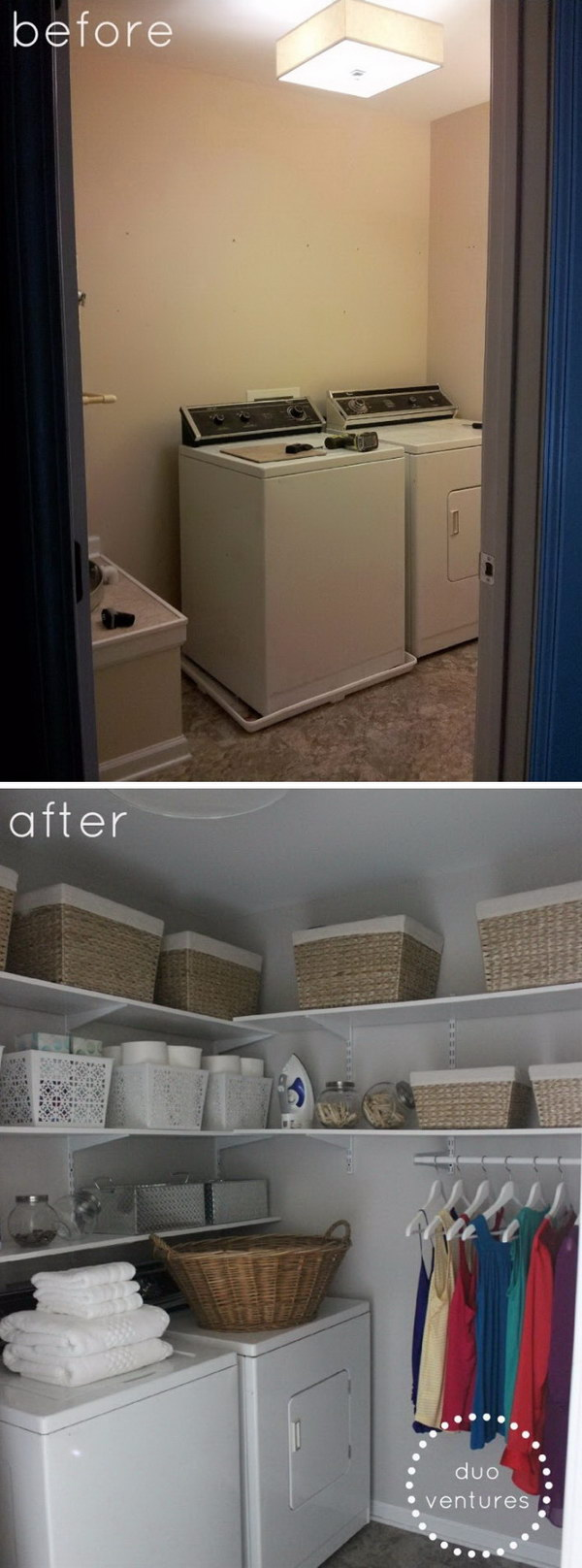 Laundry Room Makeover with Solid White Shelves and the Hanging System for Storage.