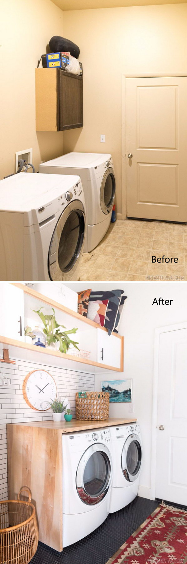 Budget Laundry Room Makeover Reveal With White Subway Tile Black Penny Floors And Wall Cabinet