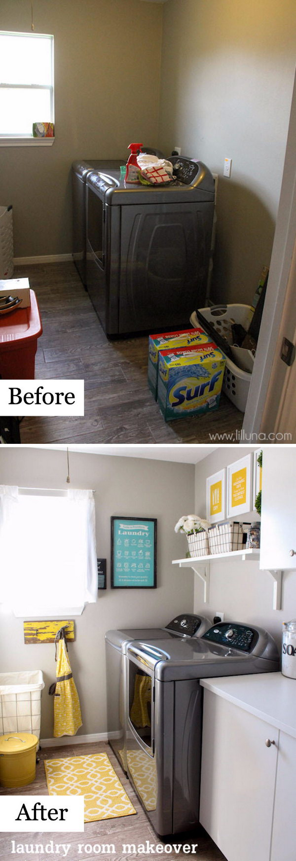 Laundry Room Reveal With a Brighter Wall Paint, Cheery Hints of Yellow, and a Handy Wall mounted Shelf.