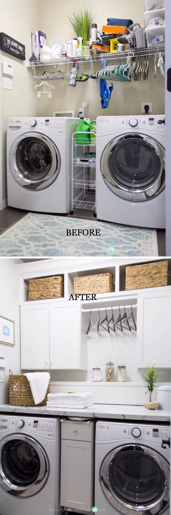 Laundry Room Reveal with Hangers between the Upper Cabinets.