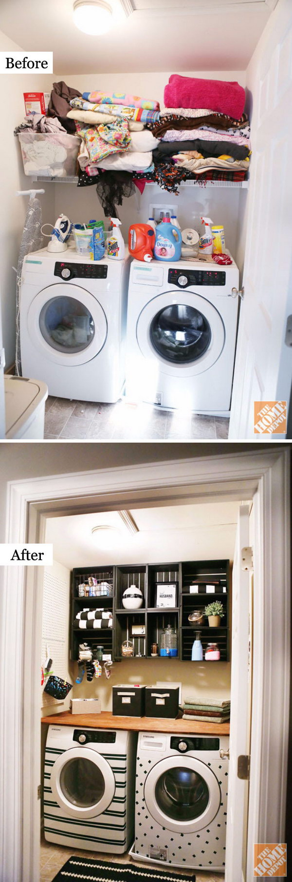 awesome before and after laundry room makeovers hative. Black Bedroom Furniture Sets. Home Design Ideas