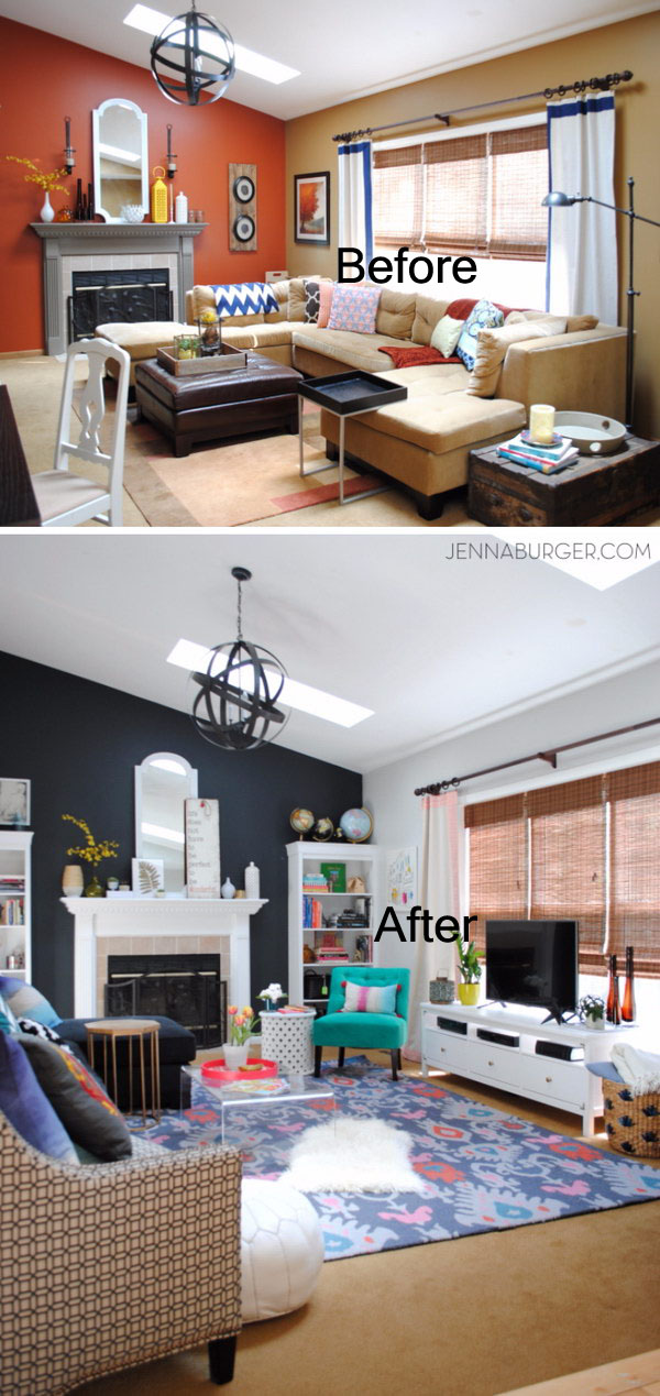 Living Room Makeover With Bold Black And Pops Of Color