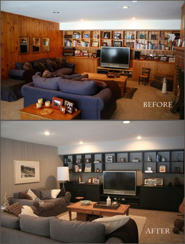 Living Room Wood Paneling Makeover: Before And After: Great Living Room Renovation Ideas