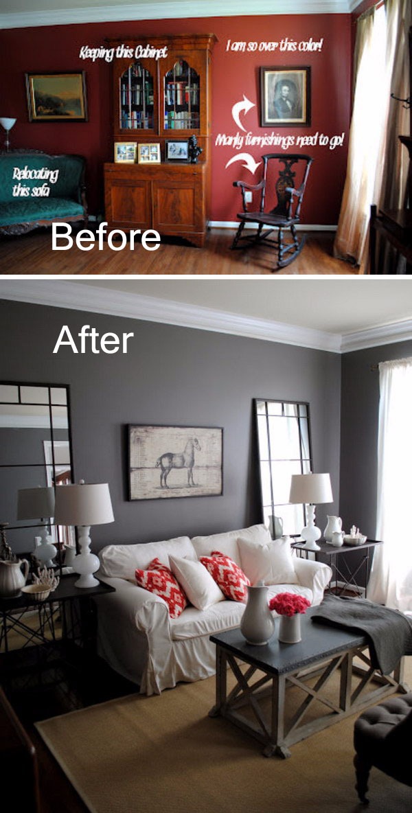 Gorgeous Charcoal Gray Living Room Transformation.