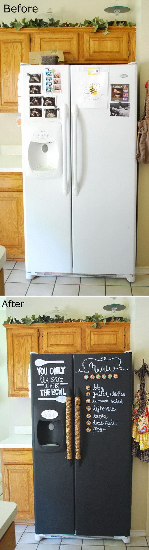 Genius kitchen makeover ideas that would save you money for Chalkboard paint kitchen ideas