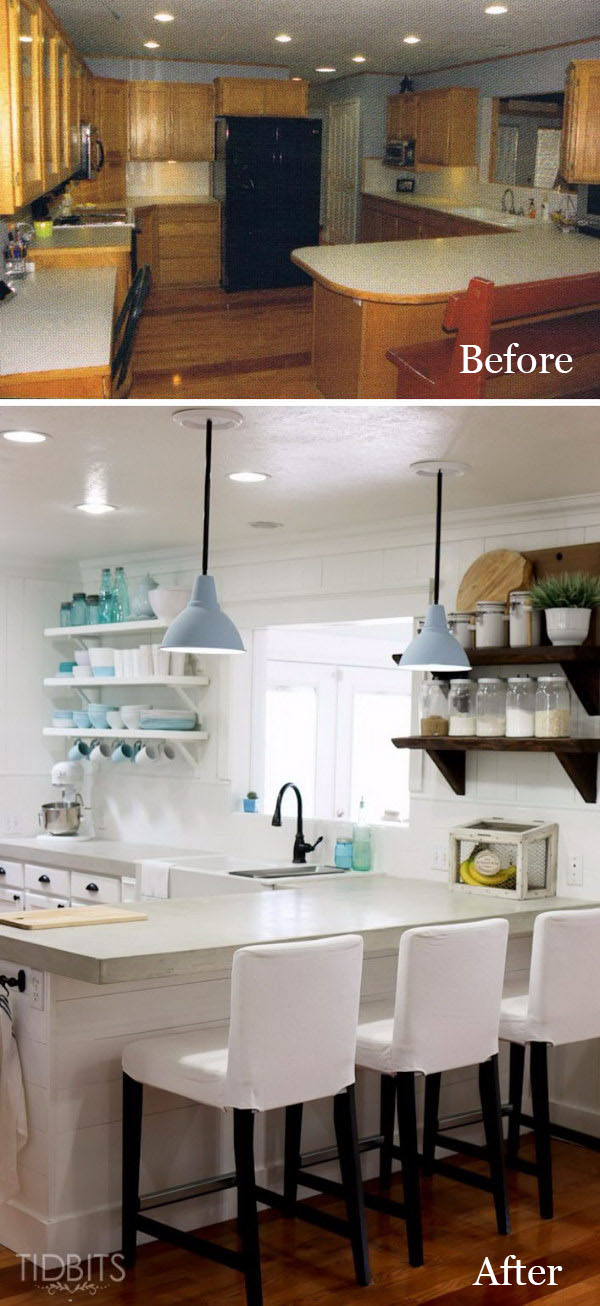 DIY Kitchen Open Shelving and Plank Walls.
