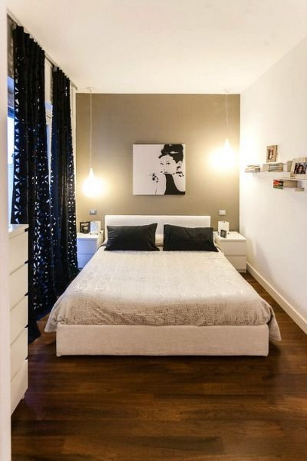 creative ways to make your small bedroom look bigger hative. Black Bedroom Furniture Sets. Home Design Ideas