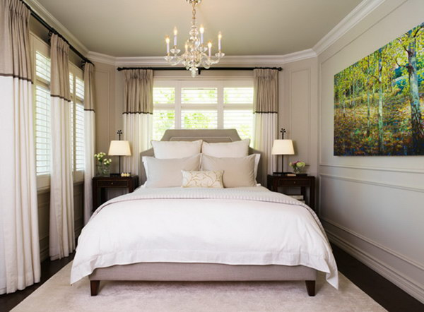 stripes on the walls curtains and headboard make this small gray bedroom look bigger - Making A Small Bedroom Look Bigger