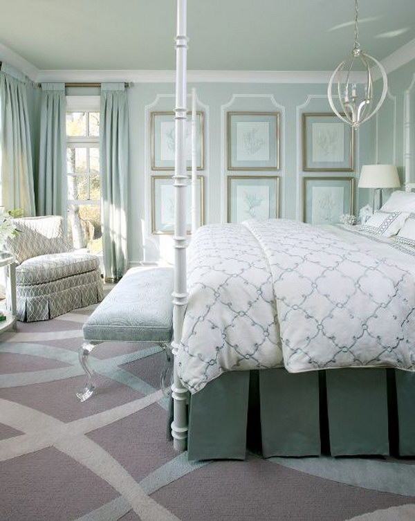 Monochromatic bedroom  mint green.