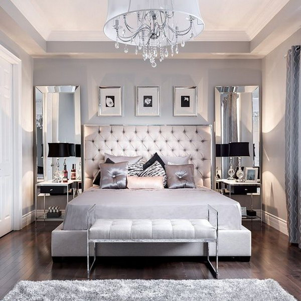 hang floor length mirrors up high for exaggeration - Making A Small Bedroom Look Bigger