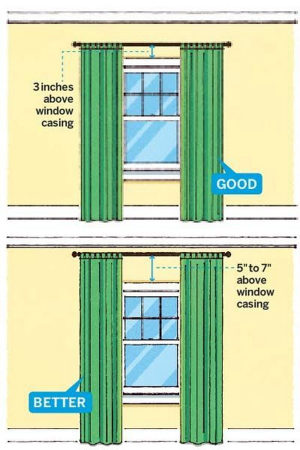 Hang Curtains Higher Than The Windows To Make Room Look Bigger!
