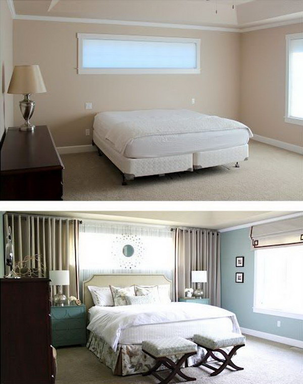 Use Wall curtains to frame the bed even if there's no windows!