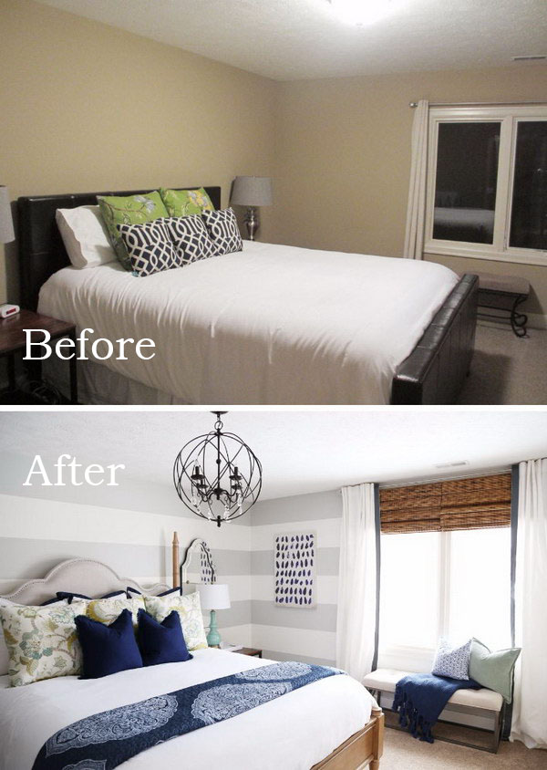 use large gray horizontal stripes to visually elongate the wall - Making A Small Bedroom Look Bigger