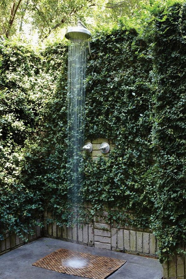 Outdoor Shower With Green Plant Fence