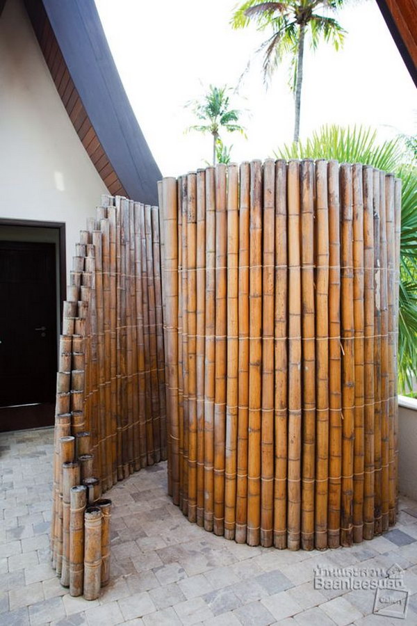 Great outdoor shower ideas for refreshing summer time hative Bamboo screens for outdoors