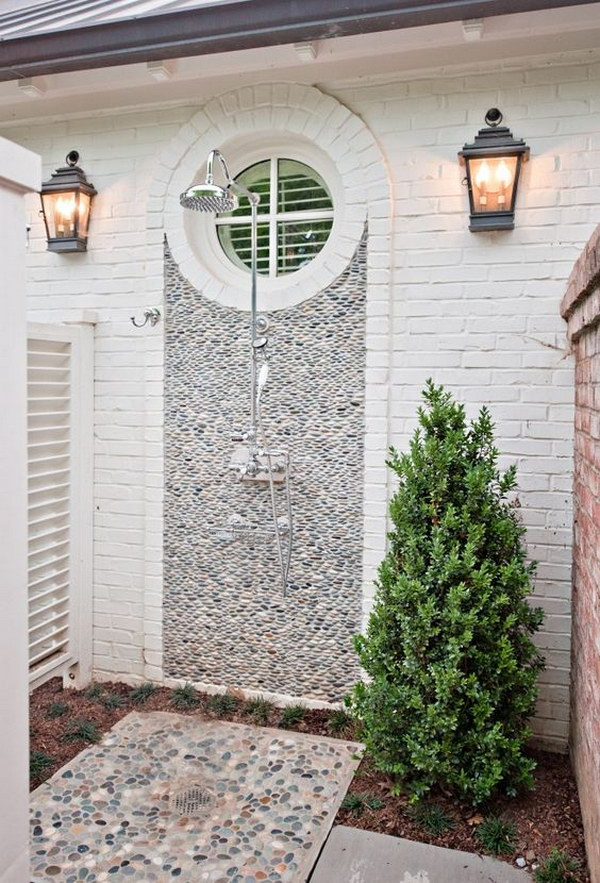 Outdoor Shower With Pebble Wall
