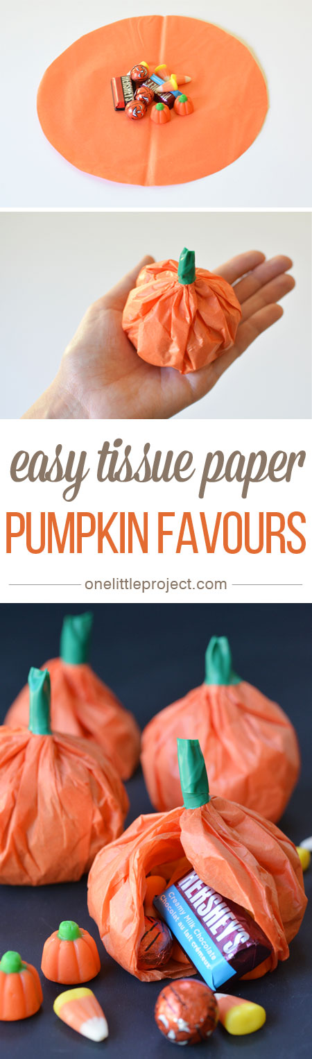 Easy Tissue Paper Pumpkin Favours.