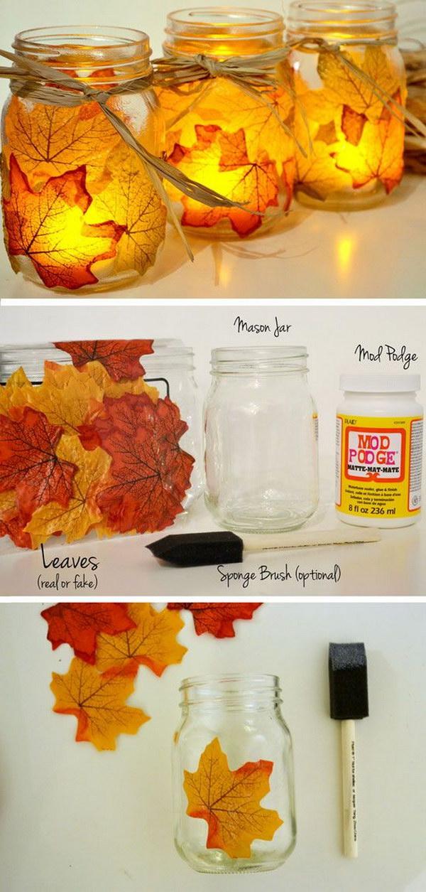 DIY Leaf Mason Jar Candle Holder.
