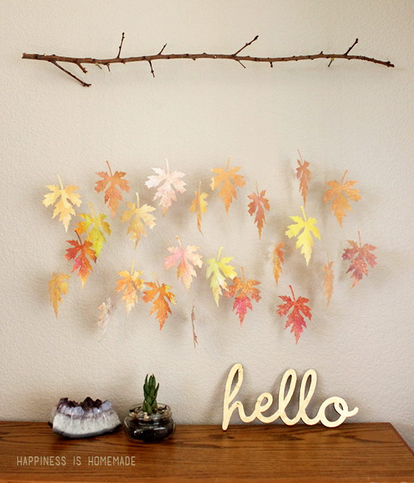 Watercolor Paper Leaf & Branch Mobile.