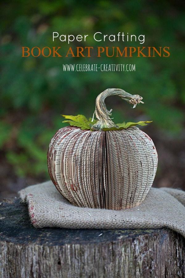 Book Page Pumpkin Craft.