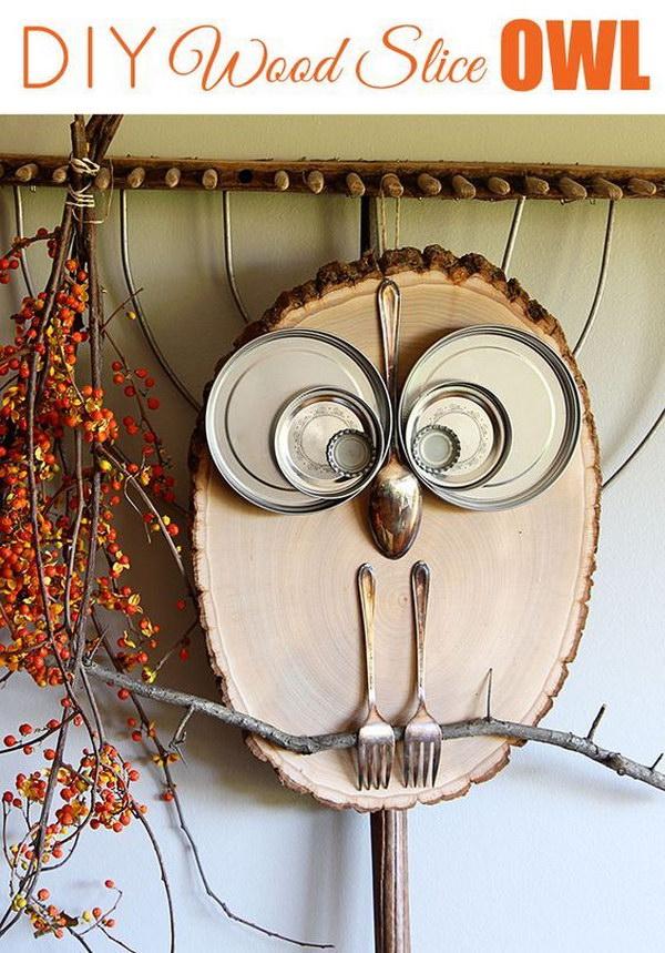 DIY Wood Slice Owl.