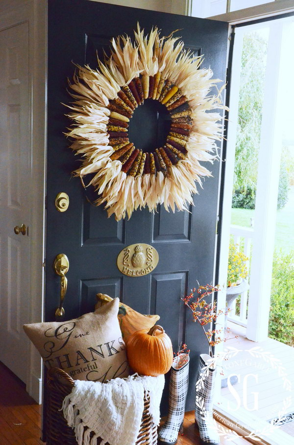 indian corn wreath - Fall Door Decorations