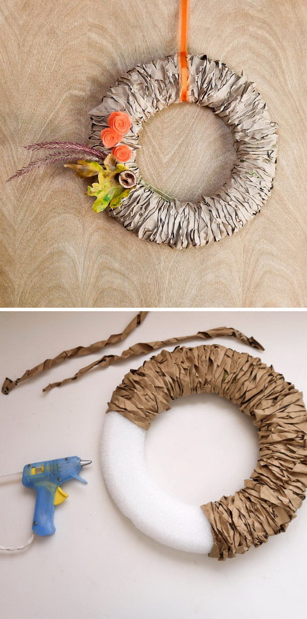 Recycle Paper Bags Into a Pretty Fall Wreath & 20 Awesome DIY Fall Door Decorations - Hative