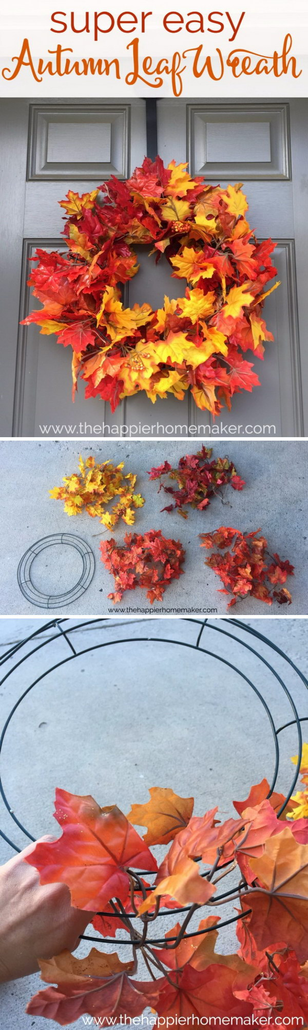 20 awesome diy fall door decorations hative for Autumn leaf decoration