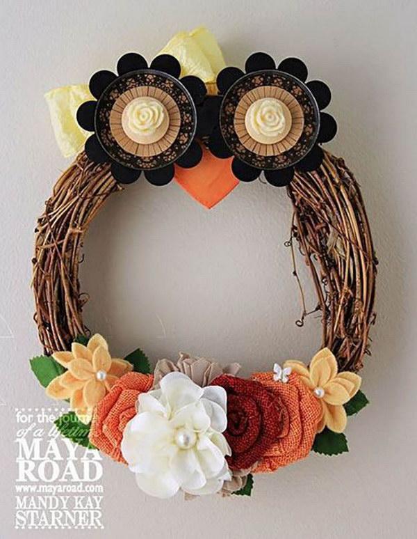 Fall Owl Wreath.