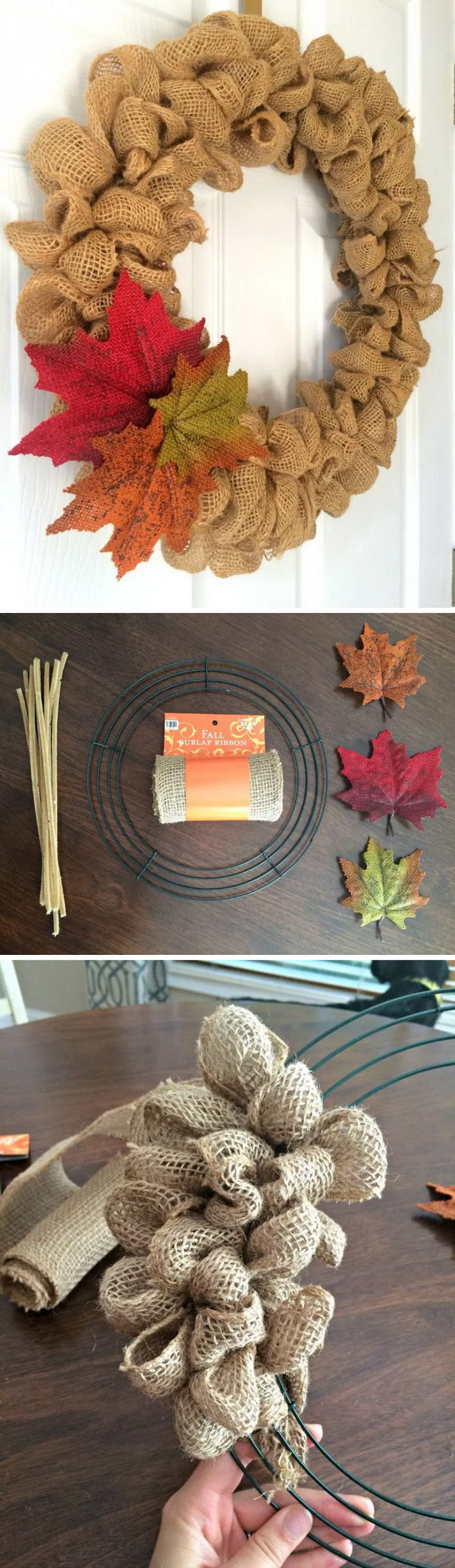 Easy Fall Burlap Bubble Wreath for Door Decoration.