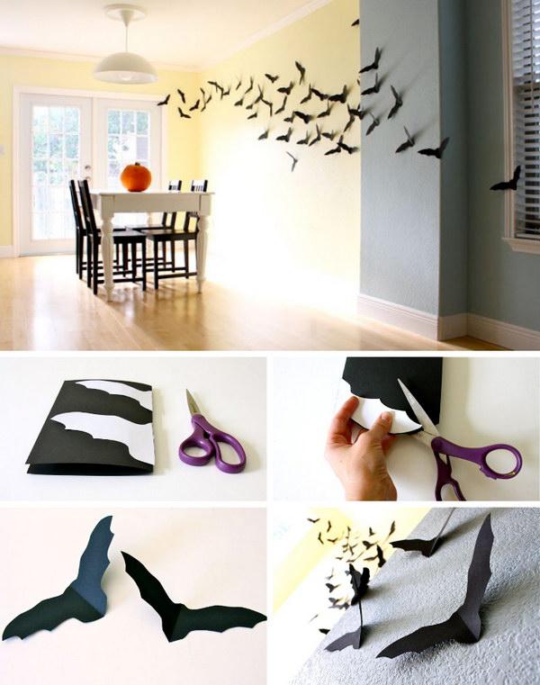 Homemade Little Bats for Halloween Wall Decoration.