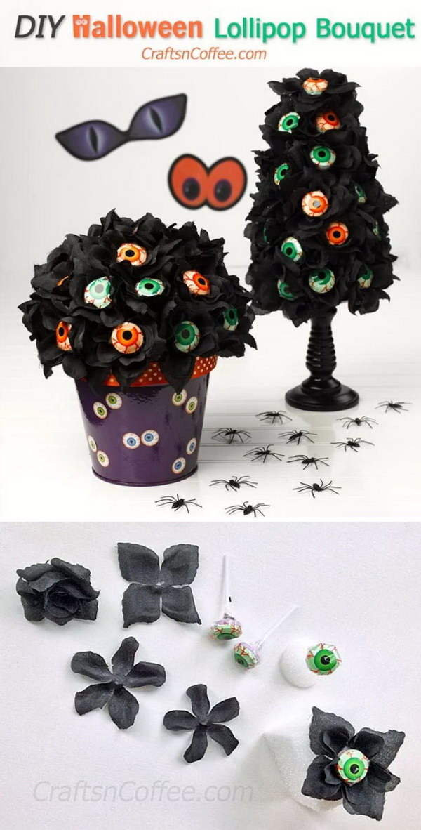 DIY Black Roses & Eyeball Lollipop Bouquet and Topiary.
