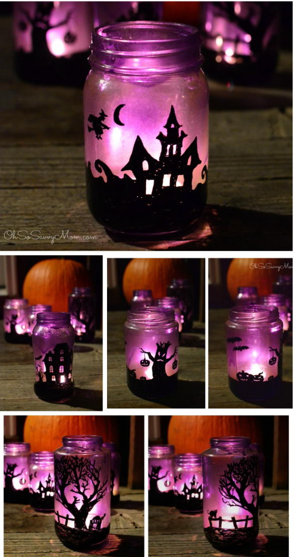 Upcycled Halloween Village Luminaries.