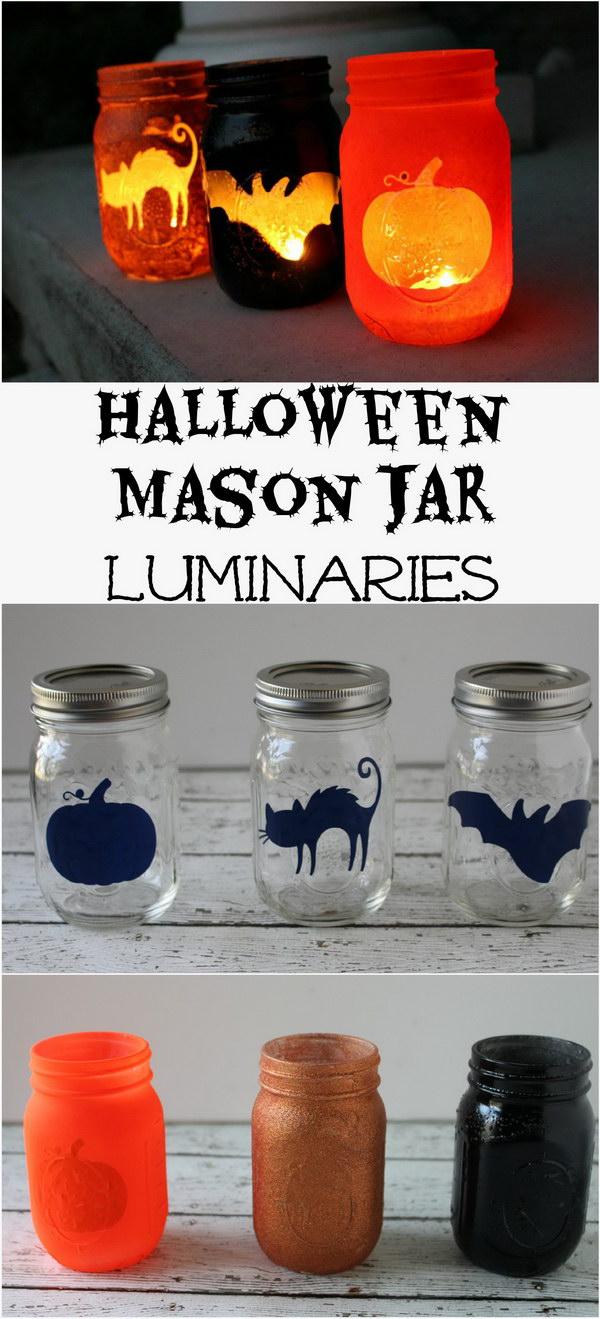 Super Easy Halloween Mason Jar Luminaries.