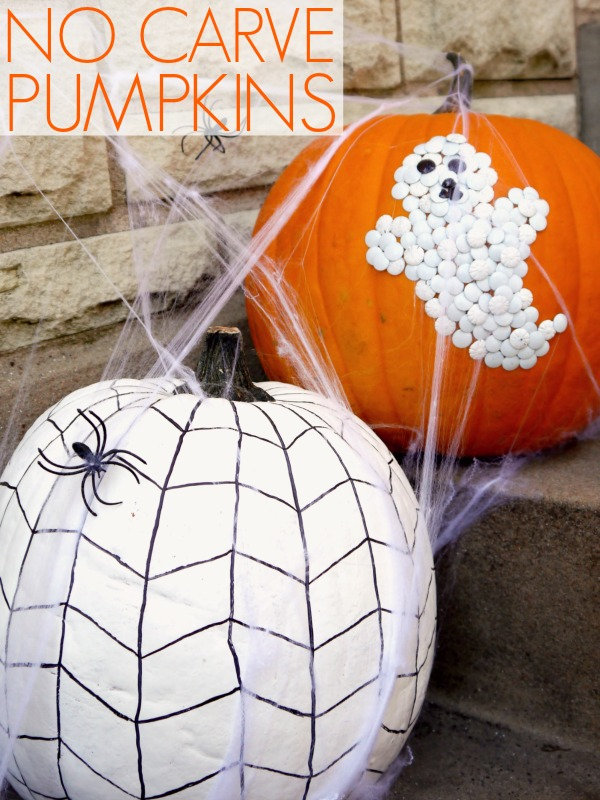 decorate your pumpkins with thumb tacks ghost and painted spider web - Halloween Pumpkin Designs Without Carving