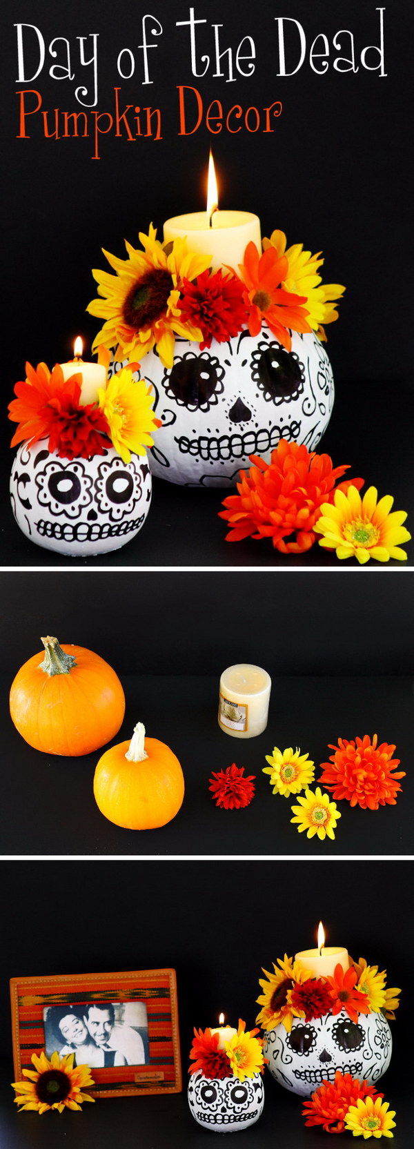 Day of the Dead Skull Pumpkin Candle Holders.