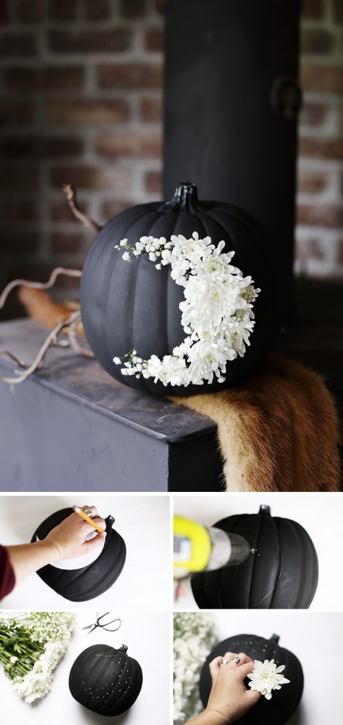 DIY Fresh Floral Moon Pumpkin.