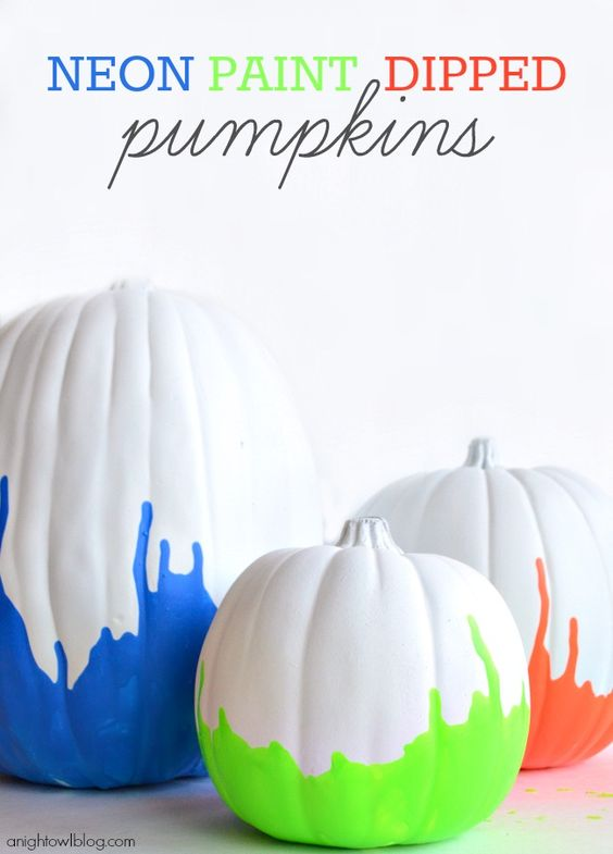 Neon Paint Dipped Pumpkins.