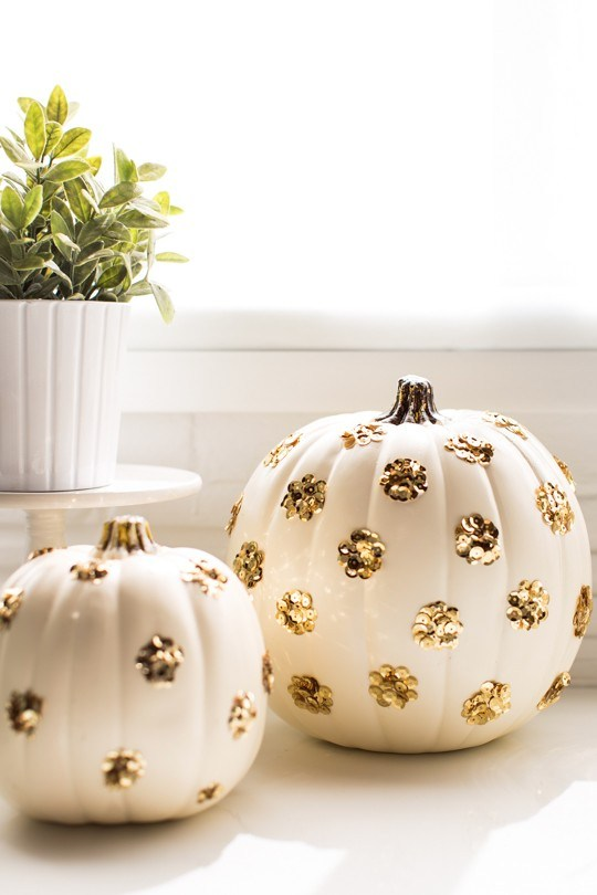 DIY Sequin Polka Dot Pumpkins.