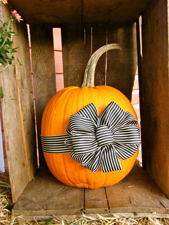 Pumpkin Decoration with Bows.