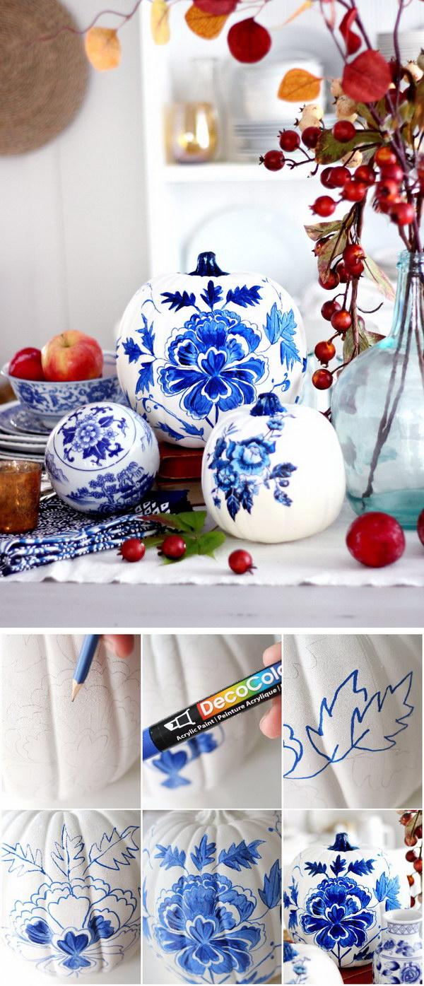 Blue Porcelain Painted Pumpkin.