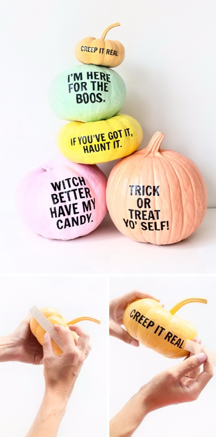 Use Alphabet Stickers to Leave Message on Pumpkins Easily.