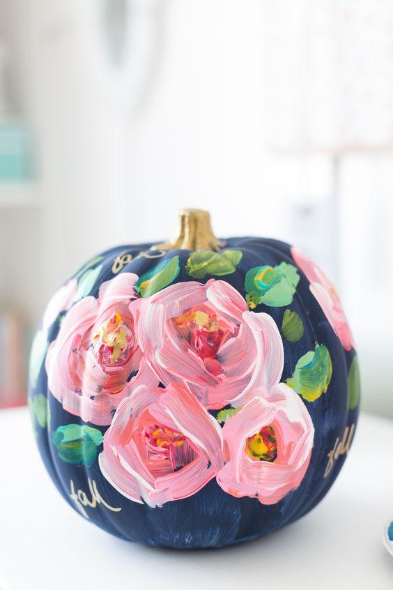 Flower Painted Pumpkin.