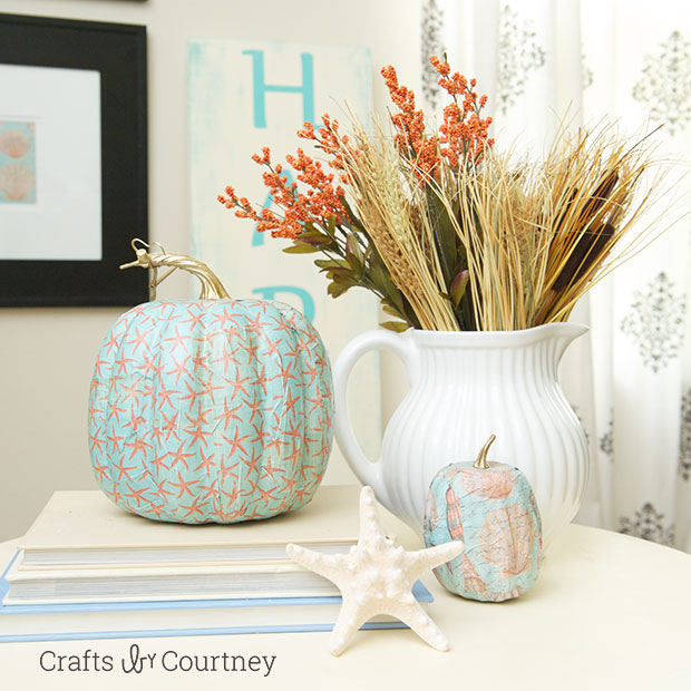 Mod Podge Fall Coastal Theme Pumpkin.