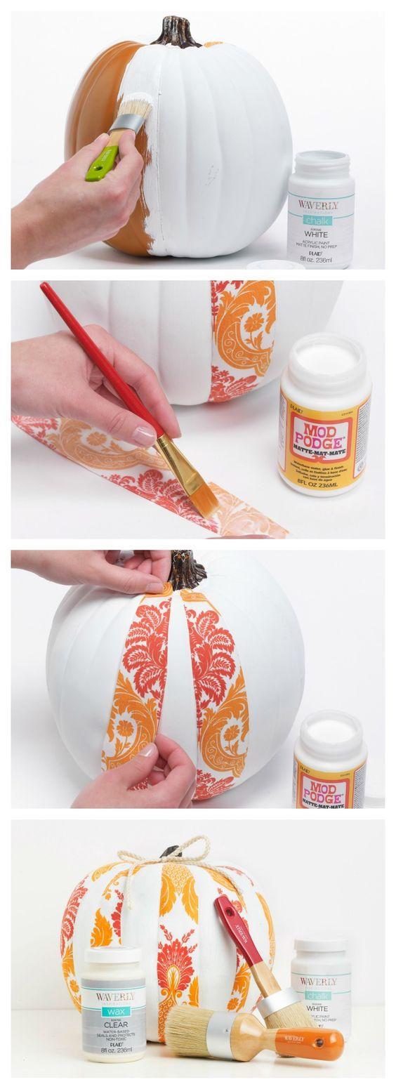 DIY Painted Waverly Fabric Halloween Pumpkin.